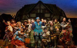 "Cast performing in ""Something Rotten"""