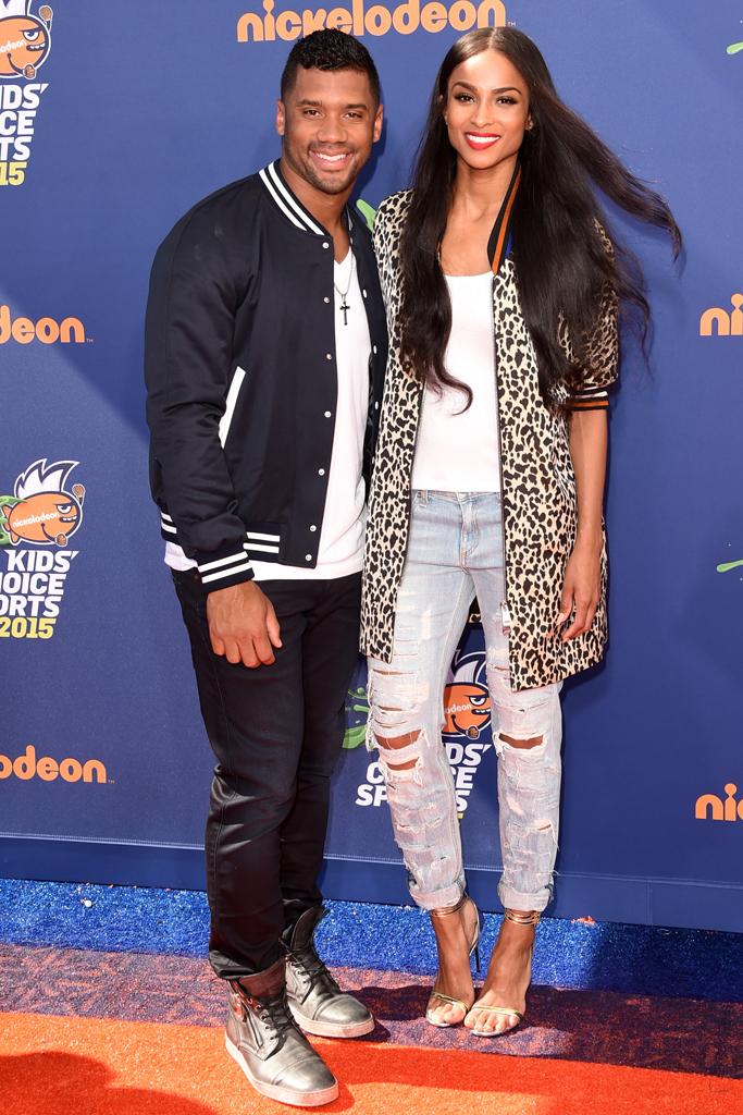Russell Wilson, Ciara Nickelodeon Kids' Choice Sports Awards Red Carpet