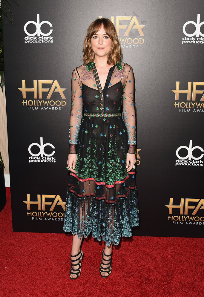 Dakota Johnson Celebrity Statement Shoes Fall 2015