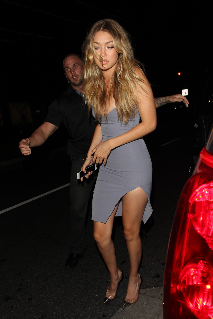 At Kylie Jenner's birthday, Hadid wore the classic Gianvito Rossi Plexi pump.