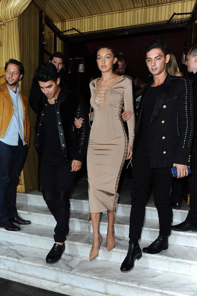 Gigi Hadid Joe Jonas Balmain Paris Fashion Week