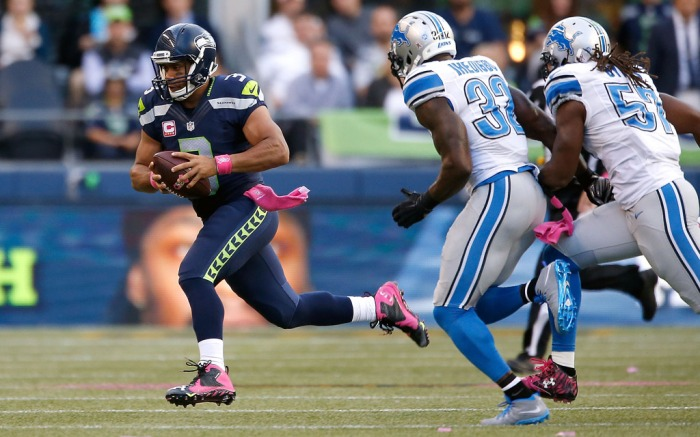 Seattle Seahawks Under Armour Russell Wilson Breast Cancer Awareness Month