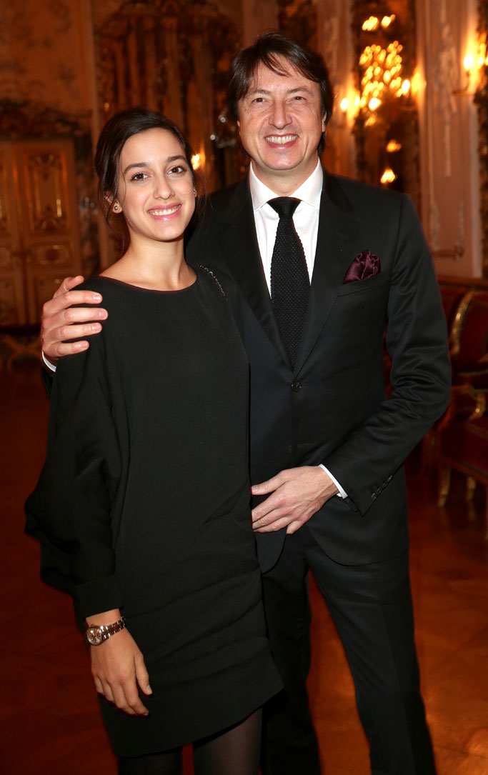 The designer with his daughter, Sofia, at the Palace of St. Emmeram in Regensburg, Germany last week for Rossi's party with My Theresa.