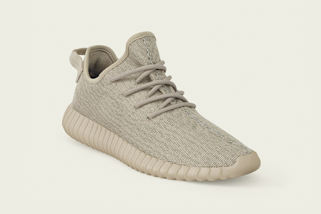 Adidas Yeezy Boost 350 in tan.