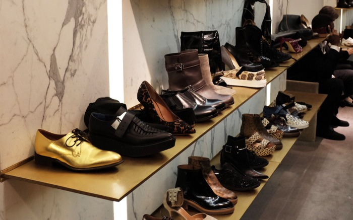 A shelf of discounted shoes, including styles from Givenchy, Marni and Celine. Barneys NY Shoe Sale