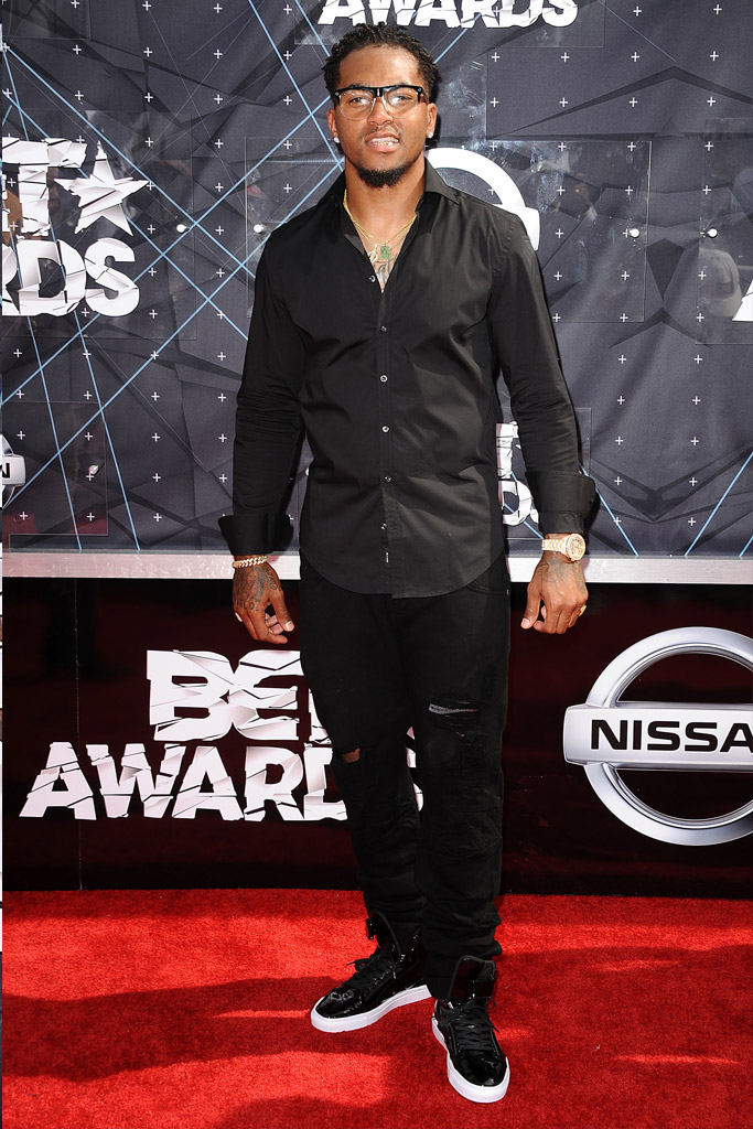DeSean Jackson at the BET Awards wearing black and white sneakers.