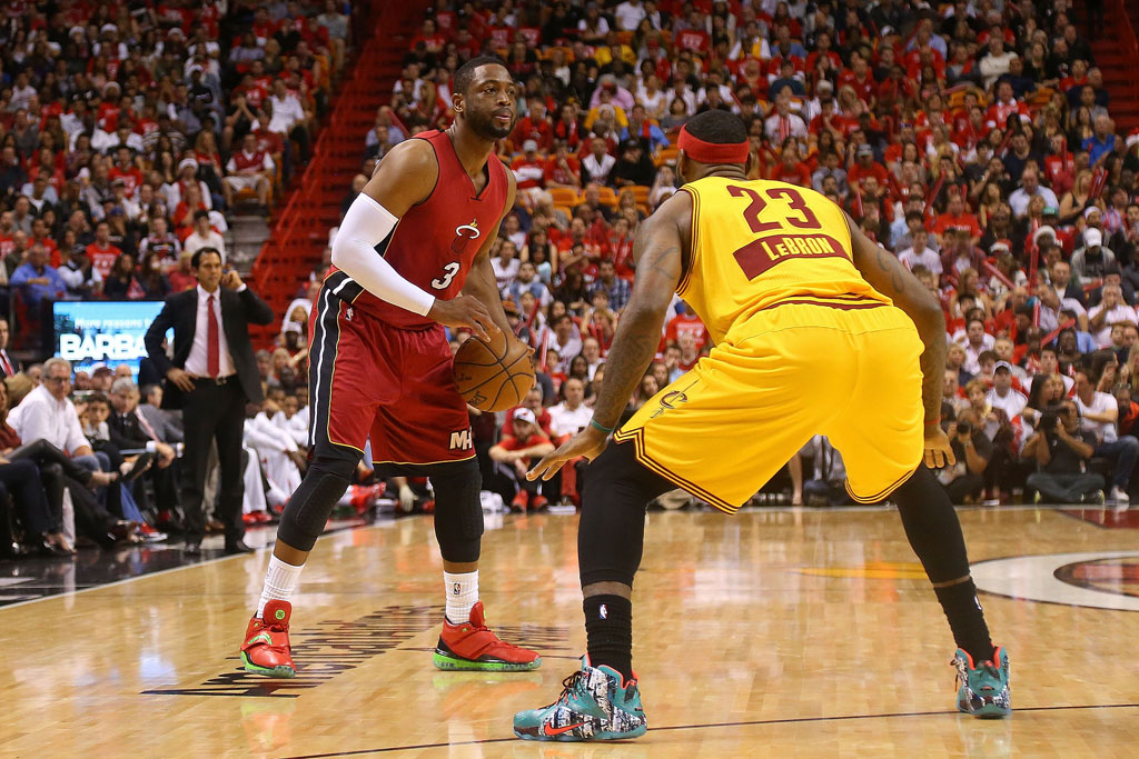 Dwyane Wade of the Miami Heat taking on LeBron James and the Cleveland Cavaliers, 2014.