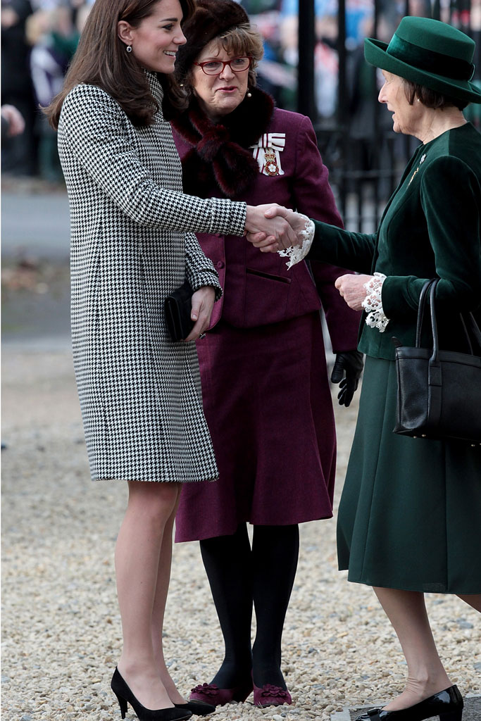 Kate Middleton in her Emilia Wickstead coat and Jimmy Choo pumps.