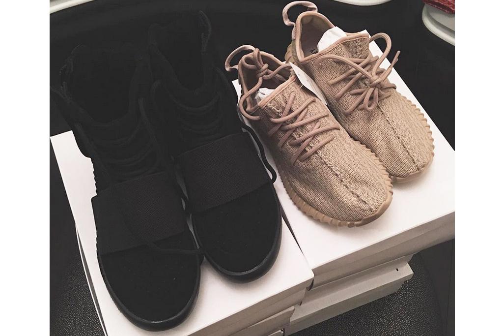 black and beige yeezys