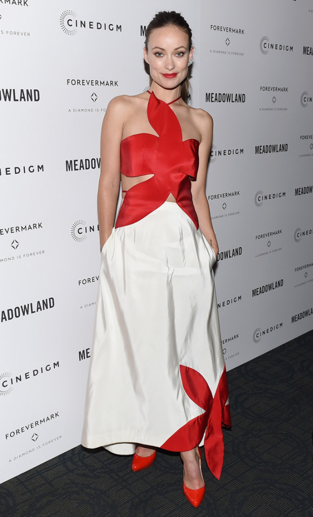 """Olivia Wilde wore a pair of Paul Andrew's Manhattan pumps at the premiere of """"Meadowland"""" in New York."""