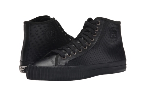 Black high-top leather PF Flyers.