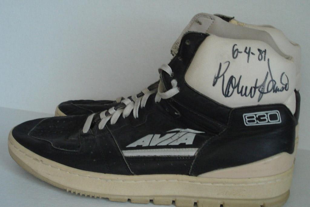 Robert Parish autographed game worn sneakers