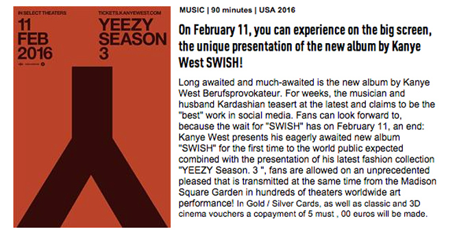 Yeezy Season 3 Swish Show Madison Square Garden