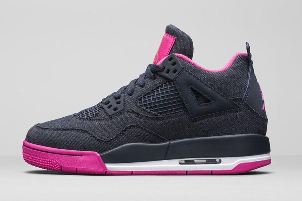 Girls Air Jordan 4 Retro Dark Obsidian/Vivid Pink