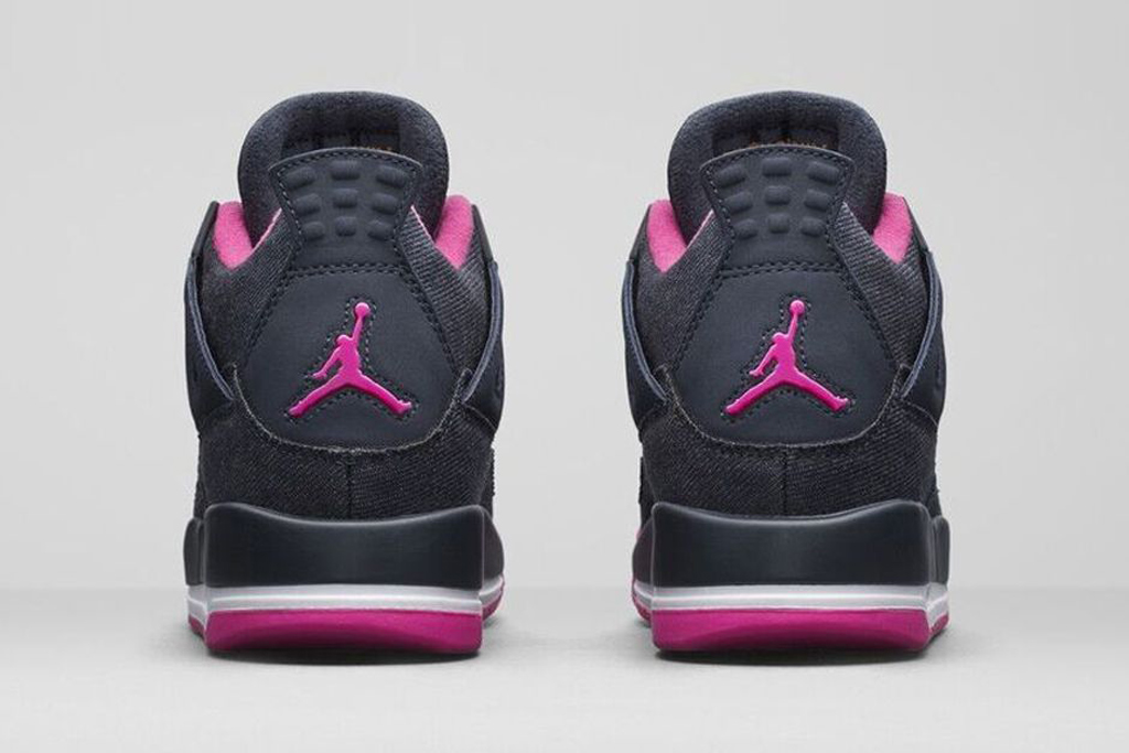 Girls Air Jordan 4 Retro Dark Obsidian/Vivid Pink