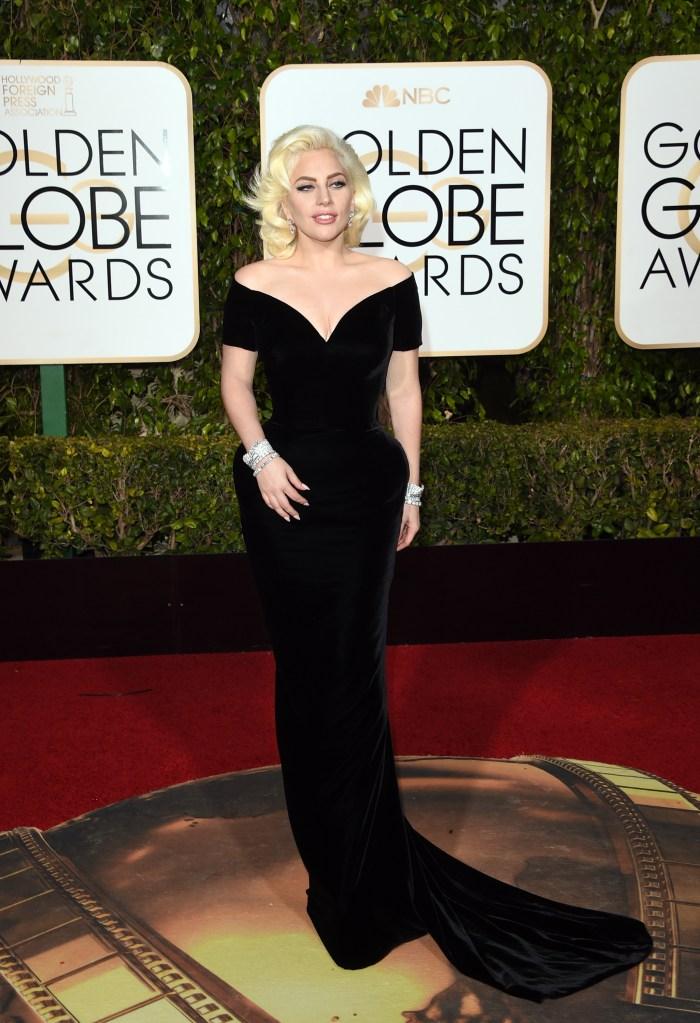 Lady Gaga Golden Globes Red Carpet 2016