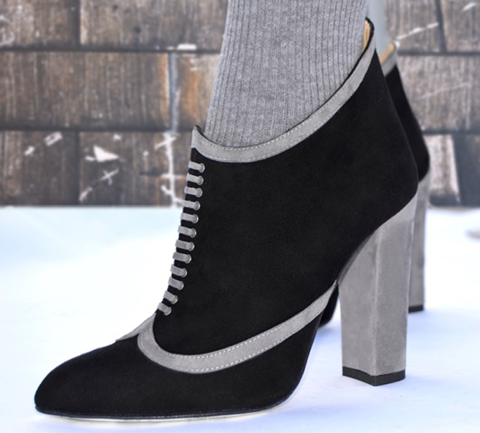 igh Heeled Art black booties