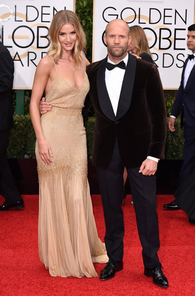 Rosie Huntington Whiteley & Jason Stratham Golden Globes Red Carpet 2016