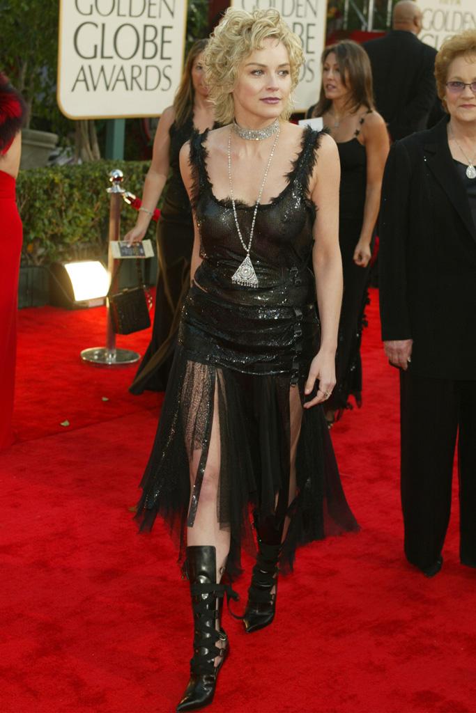 Sharon Stone Golden Globes Red Carpet