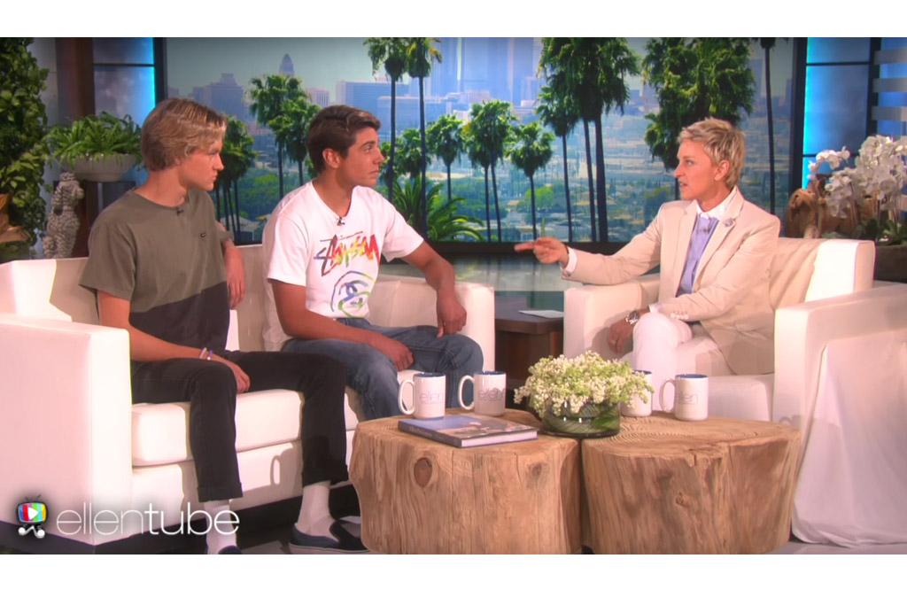 "Josh Holz, Daniel Lara on ""The Ellen DeGeneres Show."""