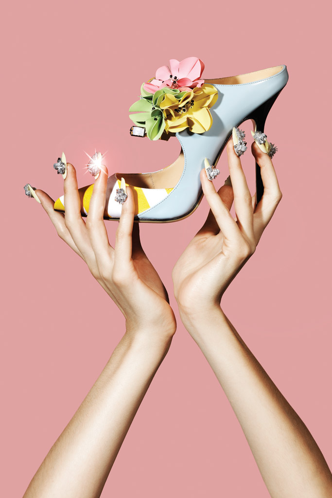 Giannico Leather Mules With Flowers