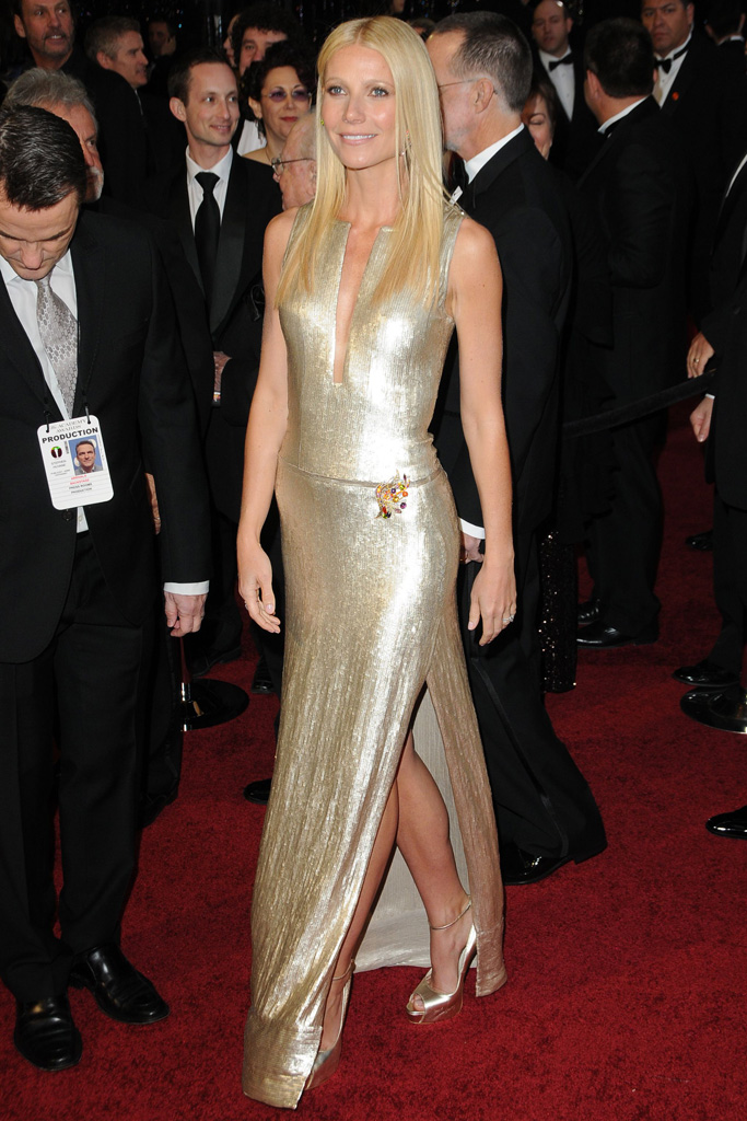 2011: Gwyneth Paltrow in Calvin Klein dress and Brian Atwood shoes.