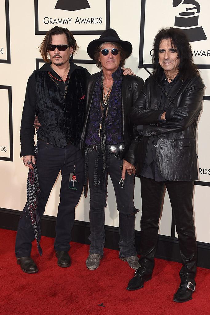 Johnny Depp Joe Perry Alice Cooper 2016 Grammy Awards
