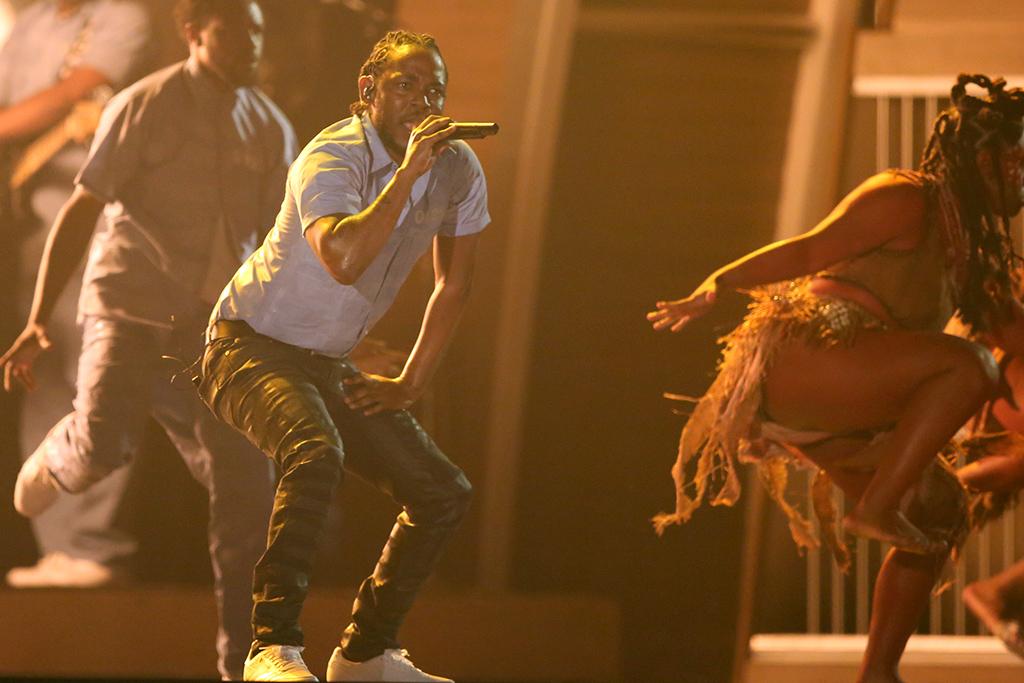 Kendrick Lamar performing at the 2016 Grammy Awards.