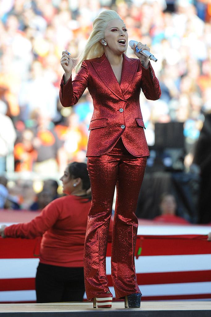 Lady Gaga Super Bowl National Anthem Performance Gucci Shoes