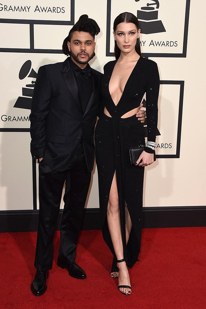 The Weeknd Bella Hadid 2016 Grammy Awards