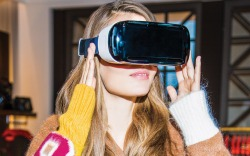 Virtual Reality headset at Tommy Hilfiger's