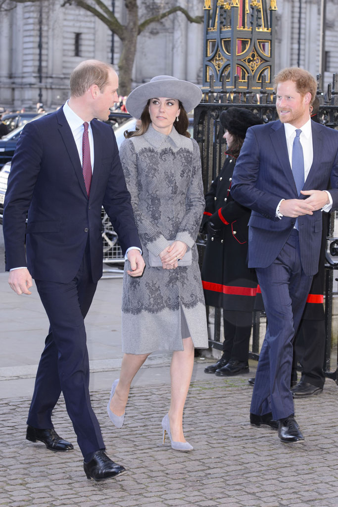 The Duchess of Cambridge attended the service with Princes William and Harry.
