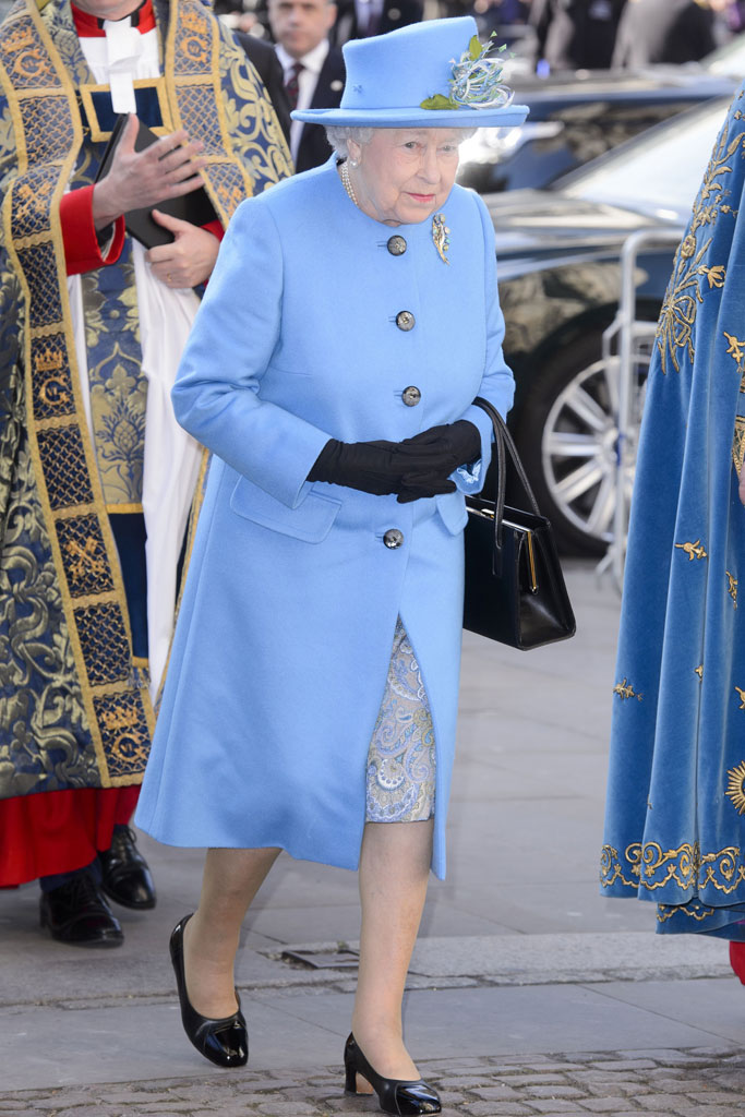 The monarch stepped out in London on Monday