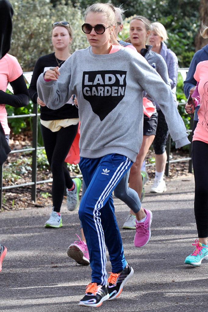 Cara Delevingne adidas sneakers lady garden charity stumbles