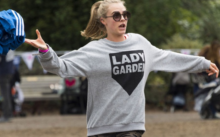Cara Delevingne adidas sneakers stumbles track pants lady garden