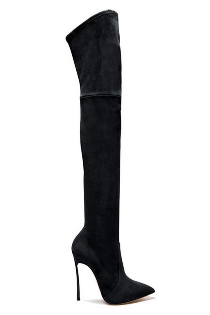 Casadei Blade Suede Black Boots