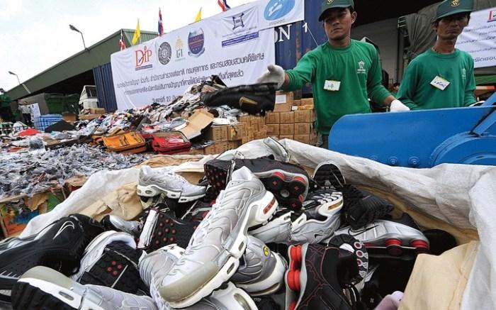 Seized counterfeit footwear