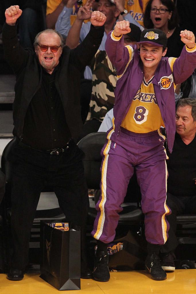 Jack Nicholson Kobe Bryant Last Game Los Angeles Lakers