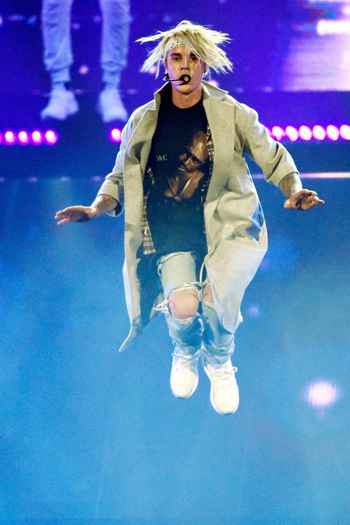 Bieber performed in Adidas Ultra Boost sneakers at the Staples Center in Los Angeles.