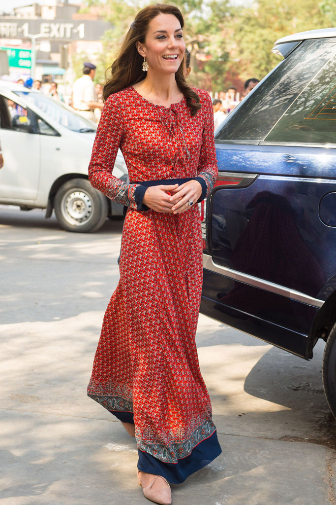 The Duchess wore Russell & Bromley in New Delhi on Tuesday.