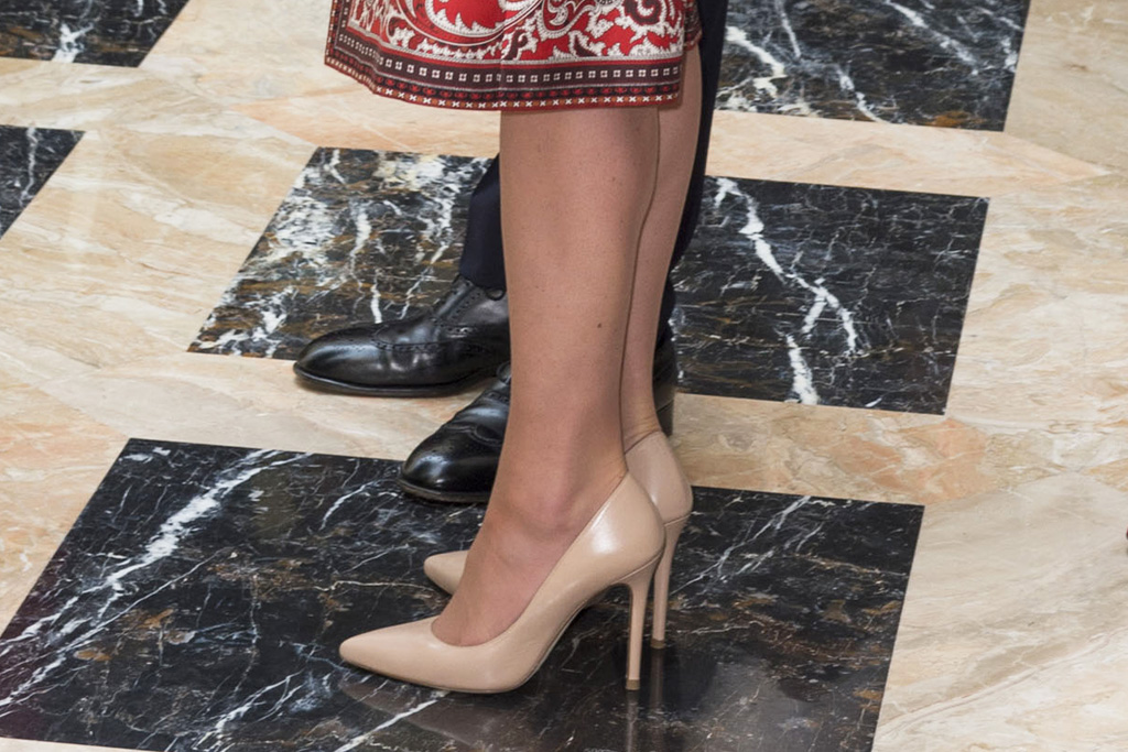 The Duchess first wore the L.K. Bennett pumps on Sunday.