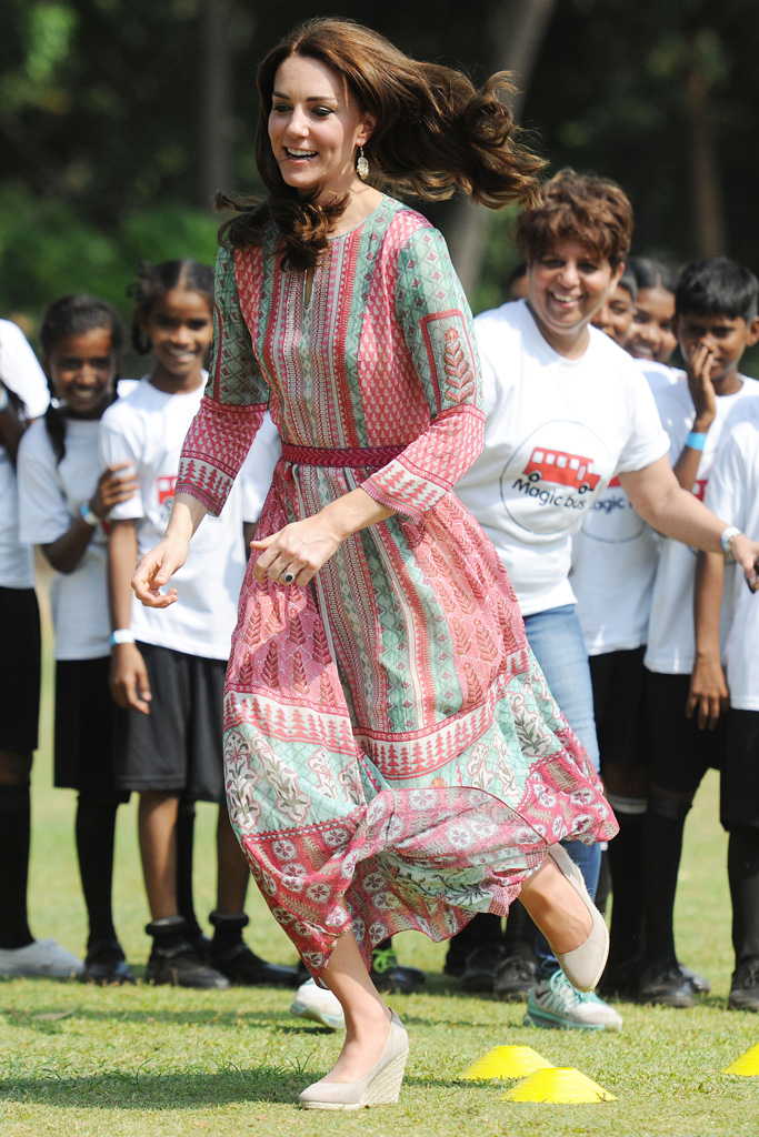 Kate Middleton Playing Cricket in wedges.
