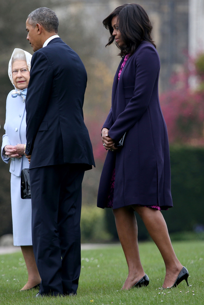 The first lady stepped out in Jimmy Choo to lunch with the Queen and Prince Philip.