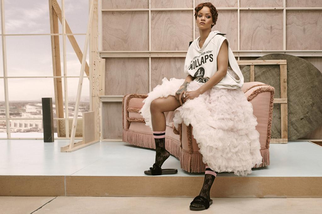 Rihanna Puma Fur Slide Stance Socks