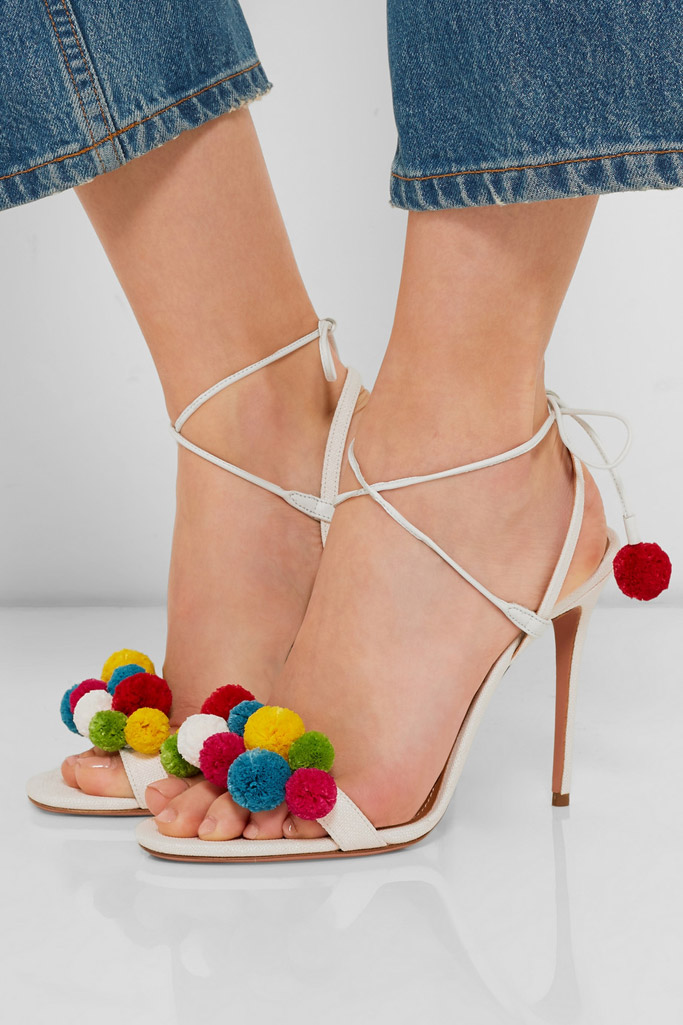 aquazzura pom pom sandals heels