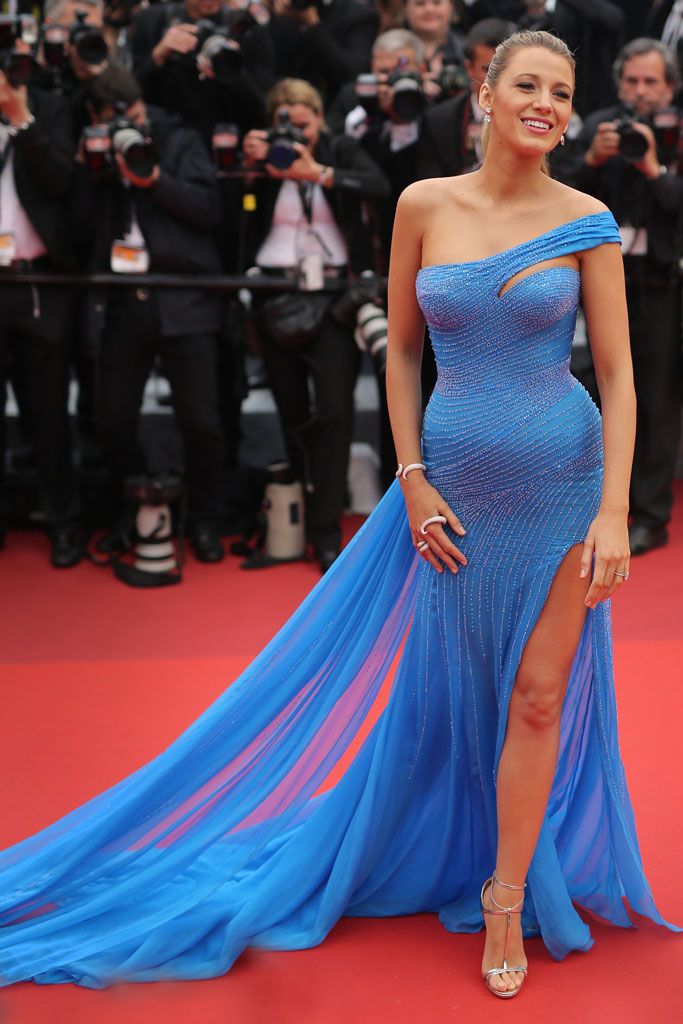 blake lively cannes versace christian louboutin heels