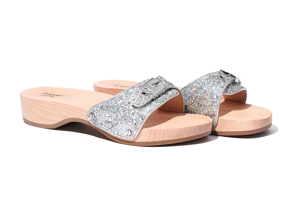 Dr. Scholl's and J. Crew glitter sandal