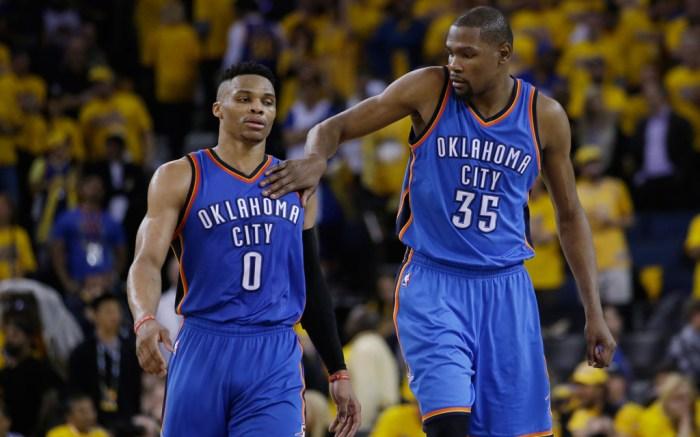 Russell Westbrook Kevin Durant NBA Playoffs Golden State Warriors Oklahoma City Thunder Nike KD8 Air Jordan XXX