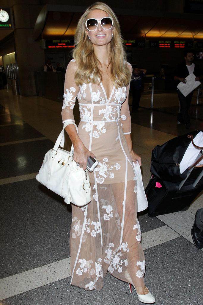 Paris Hilton cannes nude dress christian louboutin heels