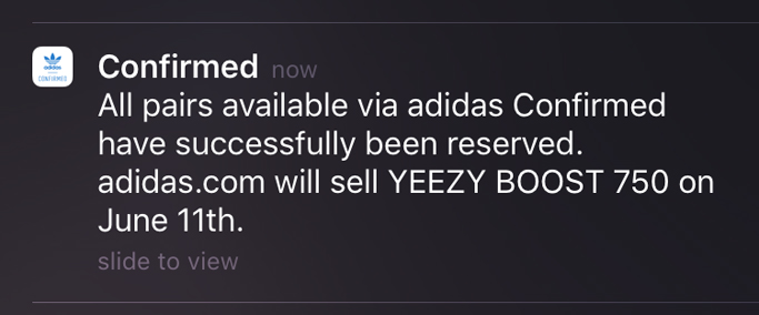 Adidas Confirmed App Yeezy Boost 750